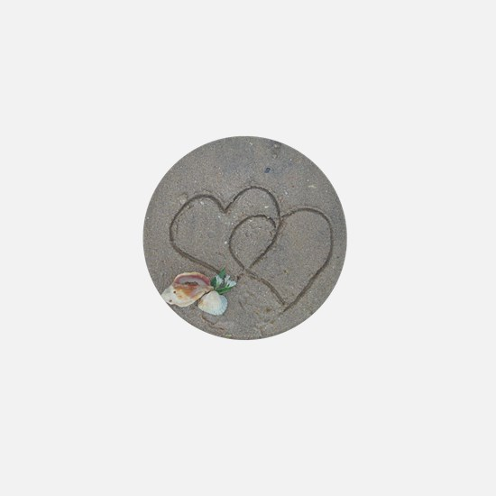hearts and shells on sand Mini Button
