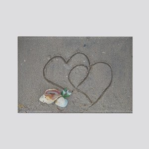 hearts and shells on sand Rectangle Magnet