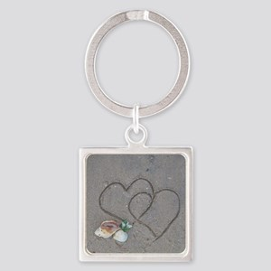 hearts and shells on sand Square Keychain