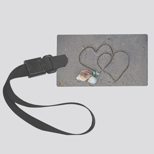 hearts and shells on sand Large Luggage Tag