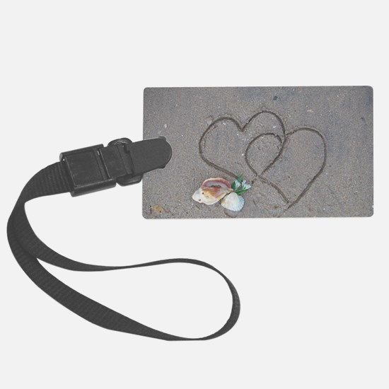 hearts and shells on sand Luggage Tag