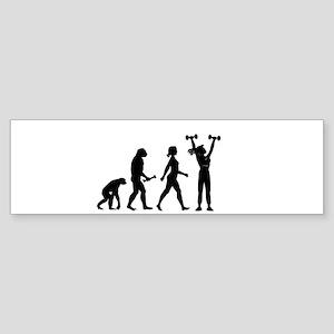 Female Weightlifter Evolution Bumper Sticker
