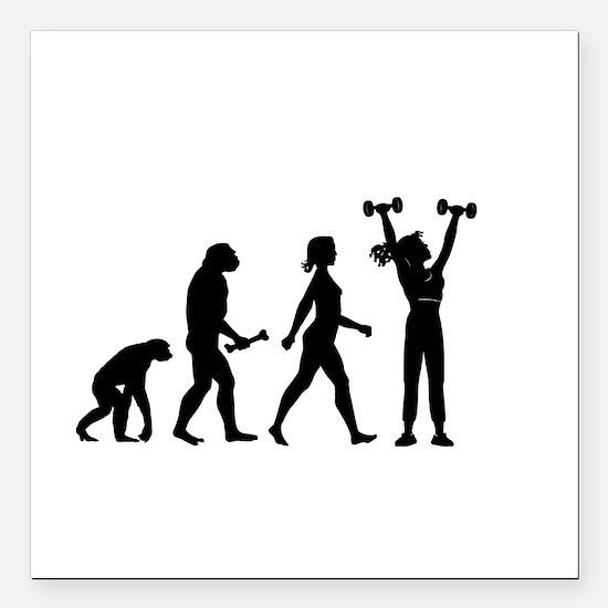 "Female Weightlifter Evolution Square Car Magnet 3"""