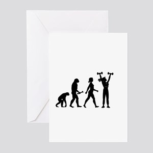 Female Weightlifter Evolution Greeting Cards