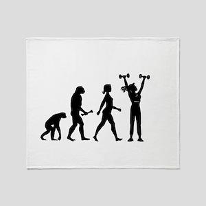 Female Weightlifter Evolution Throw Blanket