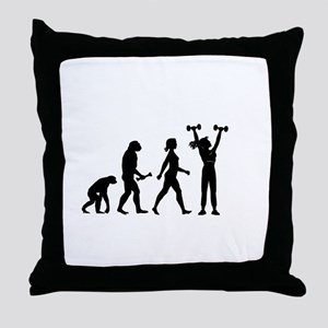Female Weightlifter Evolution Throw Pillow
