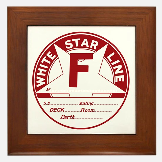 White Star Line Luggage Tag- No Name Framed Tile