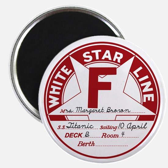 """White Star Line Luggage Tag- """"Molly Brown"""" Magnet"""