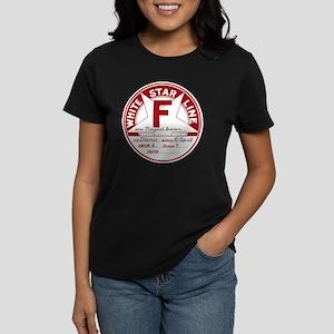 White Star Line Luggage Tag-  Women's Dark T-Shirt