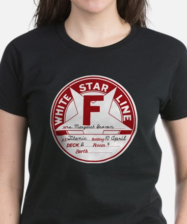 White Star Line Luggage Tag-  Women's Dark T-Shirt