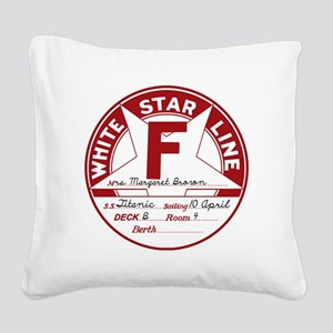 White Star Line Luggage Tag-  Square Canvas Pillow