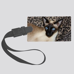 Seal Point Siamese Cat Jazell wi Large Luggage Tag