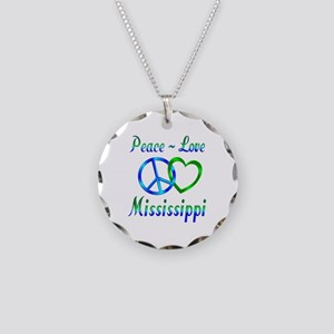 Peace Love Mississippi Necklace Circle Charm