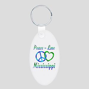 Peace Love Mississippi Aluminum Oval Keychain