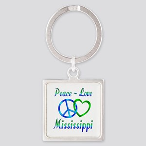 Peace Love Mississippi Square Keychain