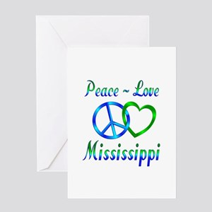 Peace Love Mississippi Greeting Card