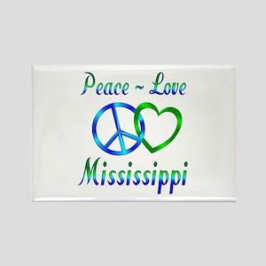 Peace Love Mississippi Rectangle Magnet