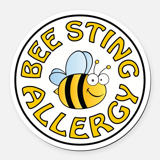 BEE STING ALLERGY Round Car Magnet