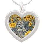 Sunflowers Live,Love,Laugh Silver Heart Necklace