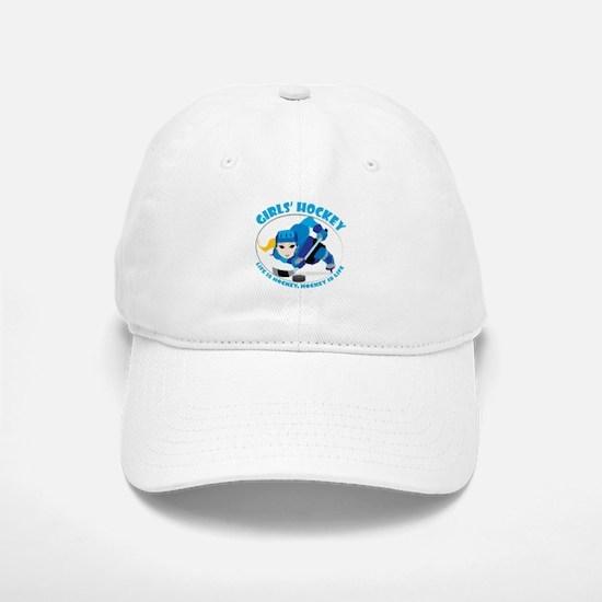 Girls' Ice Hockey Design - Blue Uniform Baseball Baseball Cap