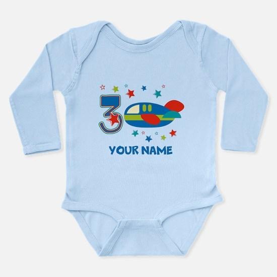 3rd Birthday Airplane Long Sleeve Infant Bodysuit