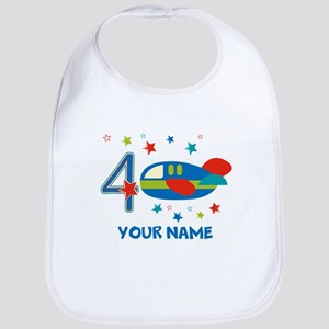 Airplane 4th Birthday Custom Bib