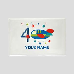 Airplane 4th Birthday Custom Rectangle Magnet