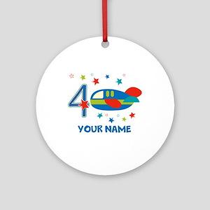 Airplane 4th Birthday Custom Ornament (Round)