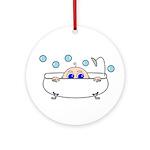 Baby Peeking From Bathtub Ornament (Round)