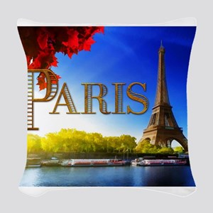 Paris and Eiffel Tower on the Seine. Woven Throw P