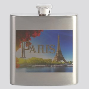 Paris and Eiffel Tower on the Seine. Flask
