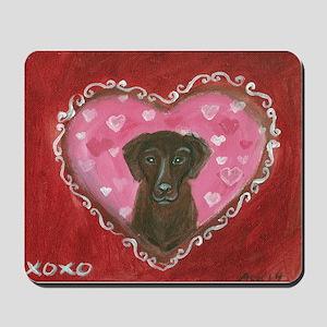 Chocolate Labrador Love Heart Valentine Mousepad