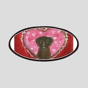 Chocolate Labrador Love Heart Valentine Patches
