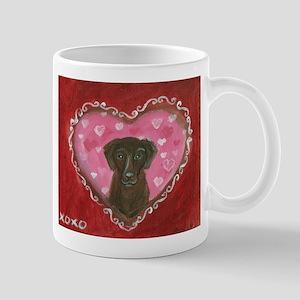 Chocolate Labrador Love Heart Valentine Mugs