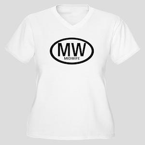 Midwife Black Oval Women's Plus Size V-Neck T-Shir