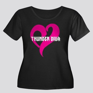Thunder Women's Plus Size Scoop Neck Dark T-Shirt