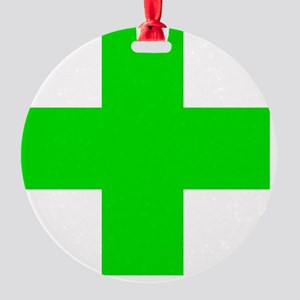 Medical Marijuana Cross Round Ornament