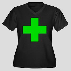 Medical Mari Women's Plus Size V-Neck Dark T-Shirt