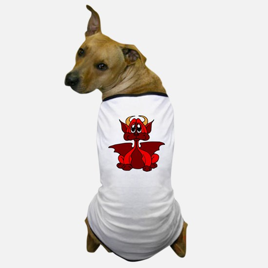 Red Baby Dragon With Horns Dog T-Shirt