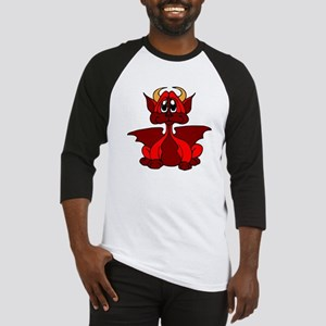 Red Baby Dragon With Horns Baseball Jersey