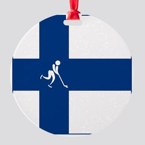 Team Ice Hockey Finland Round Ornament