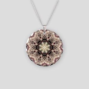Soft Dusty Pink Mandala Necklace Circle Charm