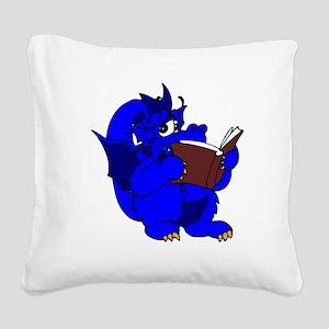 Blue Dragon Reading Square Canvas Pillow
