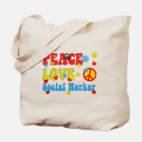 Social Worker Peace Love Tote Bag
