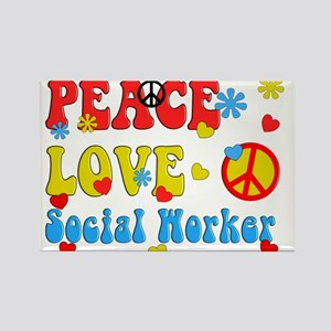Social Worker Peace Love Magnets
