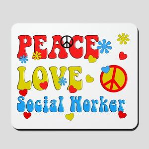 Social Worker Peace Love Mousepad