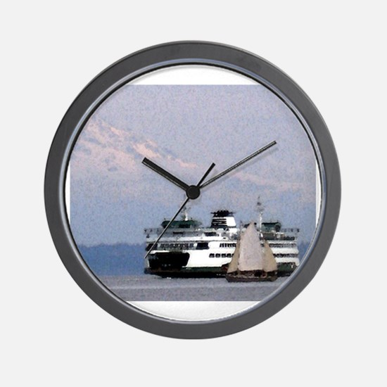 Ferry Boat Drawing with Mt. Rainier & S Wall Clock