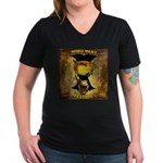 Vertical Logo Women's V-Neck Dark T-Shirt
