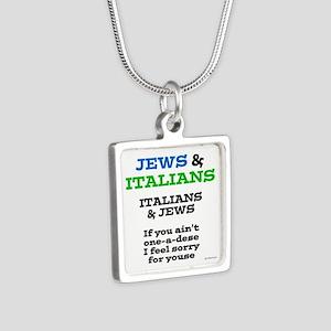 Jews and Italians Silver Square Necklace