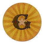 Masonic Letter G Round Round Car Magnet